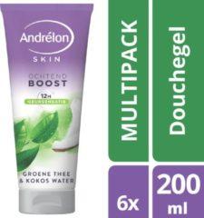 Andrélon Groene Thee & Kokos Water Douchegel - 6 x 200ml - Voordeelverpakking
