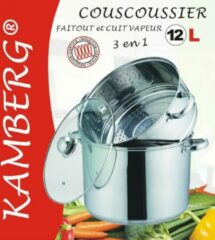 Zilveren Amberg Couscouspan couscoussier Inox 12 liter geschikt ook voor inductie