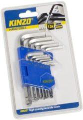 Zilveren Kinzo set inbussleutels - set met 13 inbussleutels - kogelkop