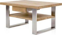 Henke Möbel Couchtisch Eiche 90 x 60 cm mit Boden und Schubkasten - Kufen Edelstahl