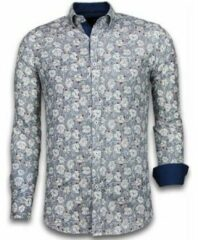 Tony Backer Italiaanse Overhemden - Slim Fit Overhemd - Blouse Drawn Flower Pattern - Blauw Casual overhemden heren Heren Overhemd Maat 3XL