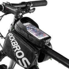 Zwarte Decopatent® PRO Fiets Frametas met Telefoonhouder - Dubbele Fietstassen - Waterdicht - Racefiets - MTB - Fietsen - 5.8 Inch Gsm