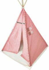 VDD Wigwam tipi speeltent Floortje - indianen tent - met vloer kussen - linnen en katoen - roze