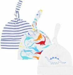 Blauwe JillyBee - Newborn - Mutsje - Mutsjes - 3pack - Dino - Dinosaurus - Jongen