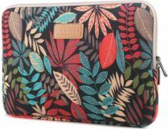 Eforyou LISEN MacBook 13 inch sleeve kleurrijke bladeren Sleeve - zwart