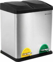 Groene Songmics Nancy's Prullenbak 30L - Pedaalemmer - Roestvrij Staal - Afvalscheidingssysteem - 2 x 15 liter