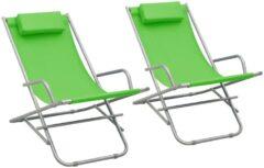 VidaXL Klapstoelen 2 st staal groen