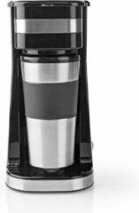 Zilveren Nedis 1-kops koffiezetapparaat | Reisbeker met dubbele wand | 0,42 L | Zwart