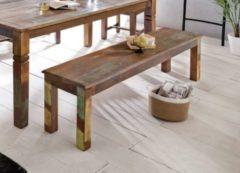 Wohnling Sitzbank Kalkutta 120 x 45 x 38 cm Mango Massivholz Esszimmerbank Landhaus Holzbank für 2-3 Personen Shabby Chic Bank für Esszimmer-Tisch