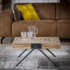 Zwarte Livin24 Industriële salontafel Jack Square teakhout 70 cm vierkant