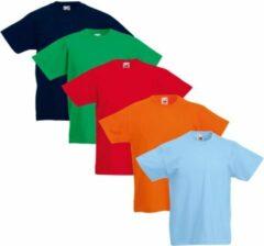 Fruit of the Loom Original Kids T-shirt 5 stuks multi-kleur maat 152
