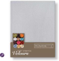 Zilveren Romanette Velours hoeslaken - Silver - Lits-jumeaux (160/180/200x200/220 cm)