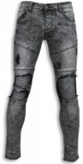 Witte Jeans New Stone Exclusieve Biker Jeans - Slim Fit Biker Knees With Paint Drops J