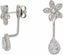 Classics&More Lovenotes oorbellen - earjackets - zilver - gerodineerd - zirkonia - bloem en druppel
