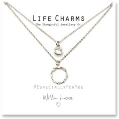 Life Charms Ketting met Giftbox Silver 2 Layer Forever Circle