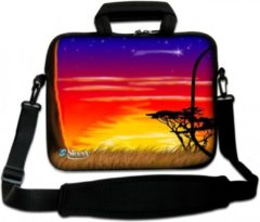Rode Sleevy 15,6 Laptoptas / laptophoes met voorvak Afrika - slanke laptoptas - dunne laptoptas - heren laptoptas - dames laptoptas