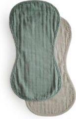 Mushie Muslin Burp Cloth Roman groen / Fog