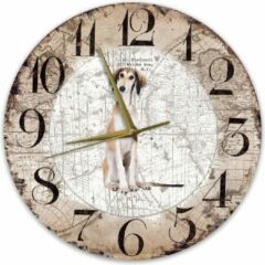 Bruine Creatief Art Houten Klok - 30cm - Hond - Saluki