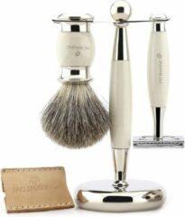 Jag Shaving Ivoor heren scheerset Double Edge Safety Razor met lederen tas, super originele haarborstel en standaard Perfecte cadeauset voor mannen