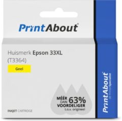 PrintAbout Huismerk Epson 33XL (T3364) Inktcartridge Geel Hoge capaciteit