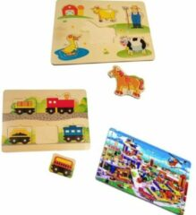 Blauwe Playwood houten legpuzzel Boerderij- Trein-Parkeergarage u krijgt 3 assorti geleverd.