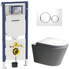 Douche Concurrent Geberit UP720 Toiletset - Inbouw WC Hangtoilet Wandcloset Rimfree - Saturna Sigma-20 Wit