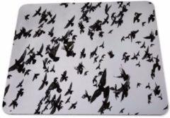 Grijze Leukste Winkeltje LeuksteWinkeltje Muismat Vogels zwart wit met textiel toplaag - 22 x 18 cm