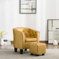 VidaXL Kuipstoel met voetenbankje kunstleer glanzend goudkleurig
