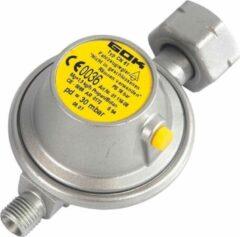 Zilveren Gok - Gasdrukregelaar met overdrukbeveiliging - Universeel - 1/4 inch Linkse aansluiting - 30 Gr