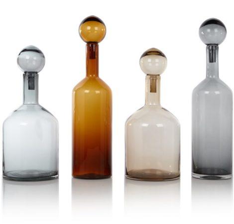 Afbeelding van Grijze Pols Potten Bubbles & Bottles Chic Karaffen Set van 4