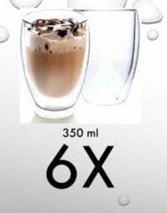 ECO Design EC Design - Dubbelwandige glazen - Set van 6 stuks - 350 ml - Thermisch glas - Koffieglazen - Theeglazen - Warme en Koude dranken - Geschenkdoos - Giftset