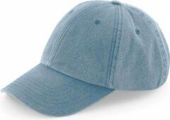 Blauwe Bagbase Senvi Low Profile Vintage Cap - Denim