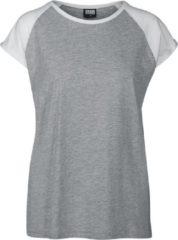 Urban Classics Ladies Contrast Raglan Tee Maglia donna grigio/bianco
