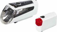 Rode Trelock LS-560 Fietsverlichting Set - USB Oplaadbaar - 50 Lux - Inclusief USB Kabel - Wit