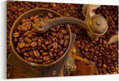Prints4you Schilderij - Koffiebonen en koffiemolen — 100x70 cm
