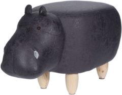 Grijze Home&Styling Home&Styling Kruk nijlpaard-vorm 64x35 cm