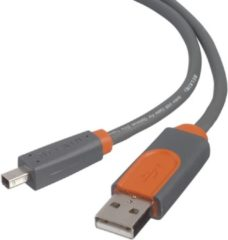 Grijze Belkin Pro Series 4-Pin USB 2.0 mini-B Cable - 1.8m 1.8m USB-kabel