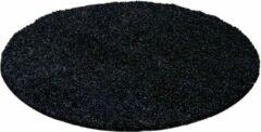 Antraciet-grijze Decor24-AY Hoogpolig vloerkleed Life - antraciet - rond 200 cm