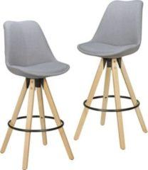 Wohnling 2er Set Barhocker LIMA Grau Retro Design Stoff Holz mit Lehne Design Barstuhl Retro Skandinavisch 2 Stück Tresenhocker Sitzhöhe 72 cm