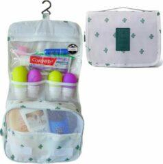 Reismonkey Ophangbare Toilettas met Haak – Wit met Cactus Print – Travel Bag Organizer voor Dames/Meisje – Hangende Make-up Tas/Cosmetic Bag – Reizen - Cadeau voor Dames/Vrouwen
