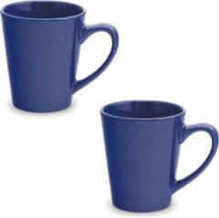 Shoppartners 2x Drinkbeker/mok blauw 350 ml - Keramiek - Blauwe mokken/bekers voor onbijt en lunch