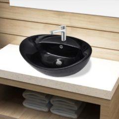 Nero VidaXL Lavandino per bagno in Ceramica nera ovale con Foro di trabocco
