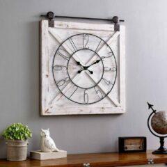 Witte LW Collection - Wandklok / klok met houten achterwand en cijfers 80cm