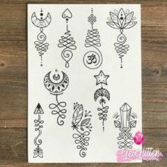 Zwarte GetGlitterBaby - Henna Plak Tattoos / Tijdelijke Tattoo / Nep Tatoeage - Unalome