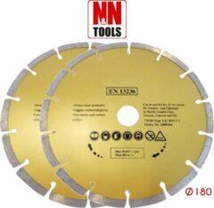 N&N Tools Diamantdoorslijpschijf Professional Multi Pack - 2 x 180 mm | Wet & Dry