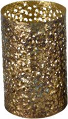 Goudkleurige Lesli Living Vintage Waxinelichthouder/theelichthouder Metaal Goud Grof Motief 21 Cm - Oosterse Stijl - Antieke Uitstraling