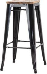 Legend metalen café barkruk - Met houten zitting - 77 cm hoog - Zwart