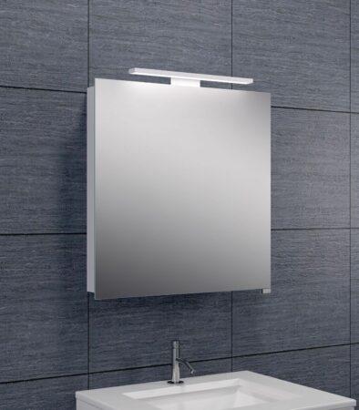 Afbeelding van Douche Concurrent Spiegelkast Larissa 60x60x14cm Aluminium LED Verlichting Stopcontact Binnen en Buiten Spiegel Glazen Planken