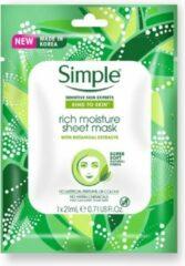 Simple Kind to Skin Rich Moisture Gezichtsmasker brengt voedingsstoffen in de huid aan om je droge huid te hydrateren en verzorgen - 20 stuks