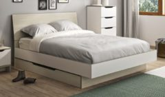 Gamillo Furniture Tweepersoonsbed Gray 160x200cm in wit met eiken